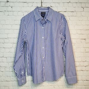 Chaps Button Down Striped Blouse L